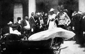 Last known photo of Archduke Franz Ferdinand prior to assassination, from Wikimedia Commons, attributed to Karl Tröstl.