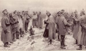 "The 1914 ""Christmas Truce"" as depicted in a British magazine, January 1915."