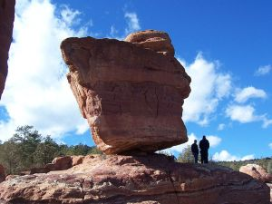 "Balanced Rock at Garden of the Gods is among the attractions seen in ""Picturesque Colorado."" Photo by EvanS, wikimedia commons."