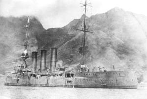 SMS Dresden, which would be scuttled after the Battle of Mas a Tierra off Chile