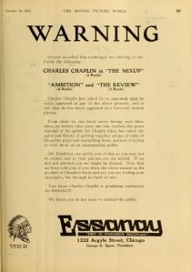 This warning from Essanay Studios about pirated Chaplin films appeared in Moving Picture World, Oct, 16 1915.