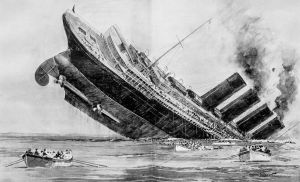 Artist's conception of the sinking of RMS Lusitania