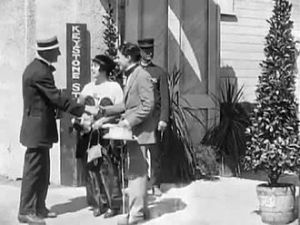 Charlie Chaplin arrives for a day of work at Keystone.