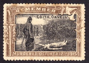 Stamp commemorating Edith Cavell, executed Oct 12.