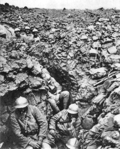 Soldiers in a trench at Verdun