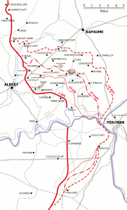 Map of allied progress in the Battle of the Somme.